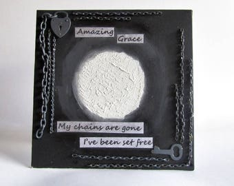 Amazing Grace Mixed Media Art Collage - Christian Art - 3D Art - Black and White