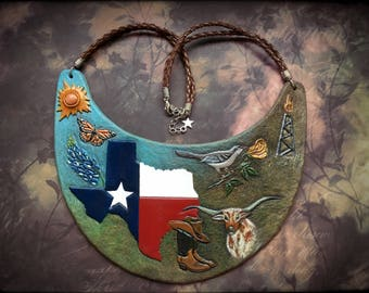 Hand tooled and hand painted leather bib necklace with symbols of Texas - Exclusive jewelry for real patriots ;)