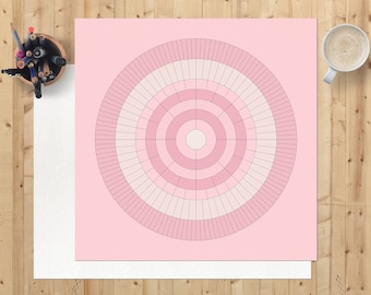 Family tree chart, Father's day gift, blank 8 generation circular ancestry digital download, printable, ready to personalise, baby pink