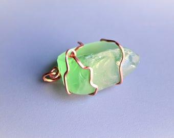 Sea Glass Seaglass Green Copper Wire Wrapped Pendant Necklace Charm v3