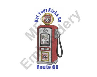 Gas Station Route 66 - Machine Embroidery Design