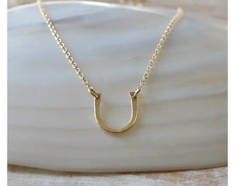 14K gold filled hammered horseshoe necklace • horseshoe pendant • layering jewelry • horseshoe 14K gold filled necklace • B181