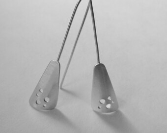 Elegant Triangle Earrings sterling with drilled holes modern asymmetric handfabricated drop earrings