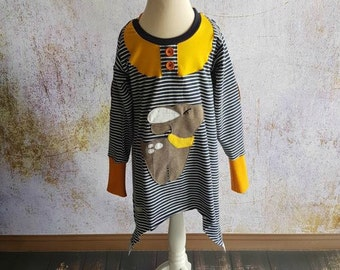 Deer Tunic pullover Size 80-152 ring Blue Mustard