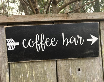 coffee bar sign, coffee sign, fixer upper inspired sign, 14x5.5