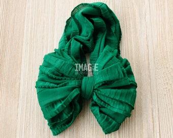Messy Ruffle Bow Headband - Lush Meadow Green