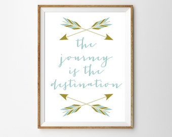 The Journey is The Destination - Printable Art for the Home - Instantly Downloadable Inspirational Quote Poster