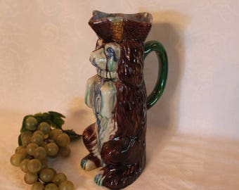 "Staffordshire Style Begging Spaniel Dog 9.5"" Pitcher with Majolica Glaze"