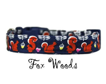 """Squirrel Dog Collar 1"""" or 1.5"""" Buckle or Martingale Style Collar"""