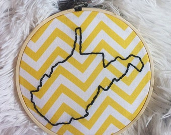 "West Virginia State Outline 5"" Embroidery"