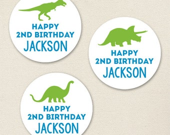 Dinosaur Party - Custom Stickers - Sheet of 12 or 24