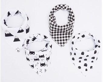 set of 4 boy chiffon and cotton bandana bibs