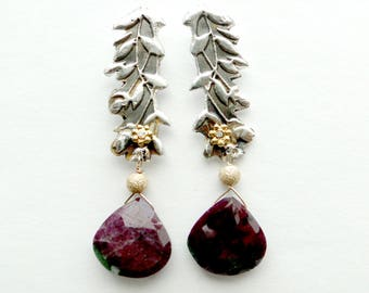 Ruby Zoisite and Silver Earrings