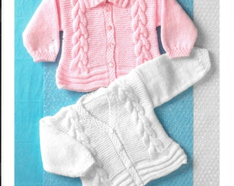 UK original knitting pattern for babies / toddler cardigan.  Double Knit.  To fit birth - 6 years / 16-26 ins / 41-66 cms