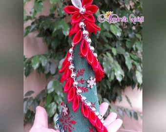 Decorazione di Natale, Christmas, Kanzashi, albero, Stella di Natale, verde, rosso, 17 cm, albero natale, palle, tree, raso, lurex