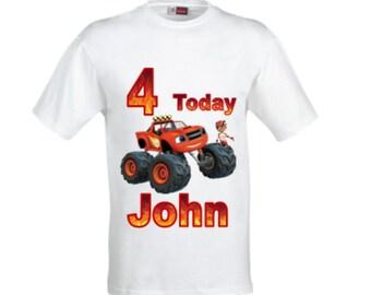 Blaze and the monster machines birthday shirt,Personalised boy's Blaze Birthday shirt,Boy's Blaze shirt.