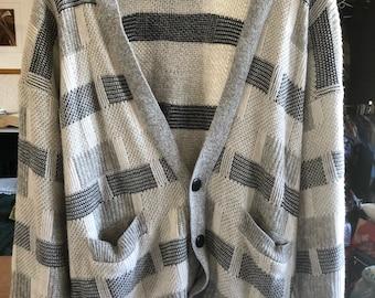 Vintage 90s Shah Safari knit Cardigan Black White Grey Heathered Slouchy Hip