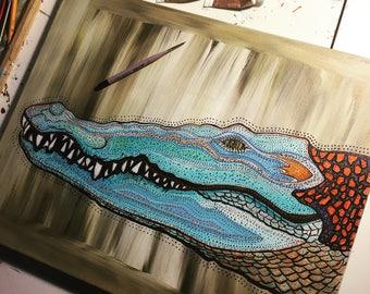Crocodelic ~  Psychedelic Crocodile Acrylic Painting