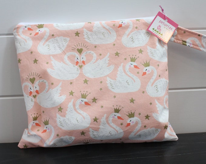 Wet Bag wetbag Diaper Bag ICKY Bag wet proof blush swans gym bag swim cloth diaper accessories zipper gift newborn baby kids beach bag