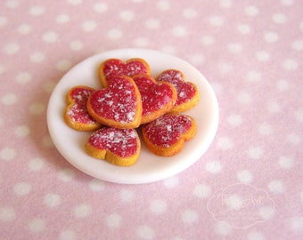 Dollhouse miniature 1:12 scale heartshaped cookies on a plate