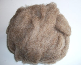 Natural roving brown Shetland wool for spinning, undyed wool roving, undyed Shetland roving 4oz.