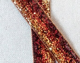 Glitter Ribbon colors gold and Brown gradient 1 metre length 1 cm wide