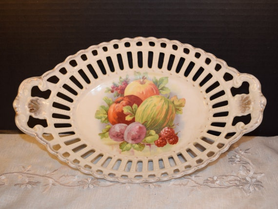 Bavaria Schumann Arzberg Fruit Dish Vintage Baravian Celery Relish Basket Oblong Tray Country French Kitchen Gift for Her Mothers Day Gift