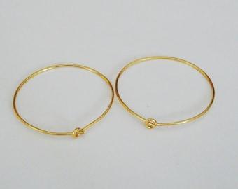 10 Pieces (5 Pairs), Round Ear Wire Hoops, 24k Gold Vermeil, 21 Gauge, 25x25mm, VE218