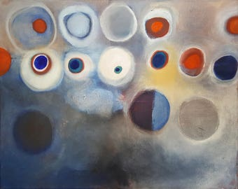 blue red orange white abstract oil painting on canvas, ready to hang art
