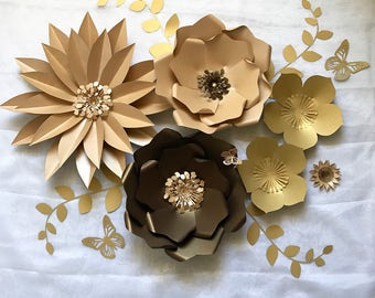 Brown And Golden Paper Flowers Wall/Backdrop