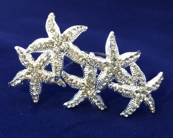 Set of Five Silver Rhinestone Starfish Hair Clips Hair Pins Perfect For Your Beach Wedding Bridesmaids Bride or Cruise