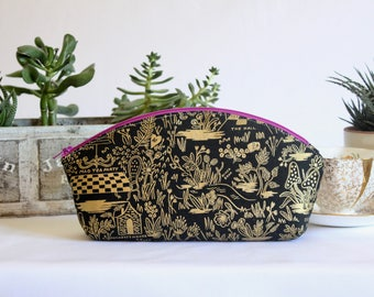 Large Petal Pouch - Magic Forest in Gold and Charcoal