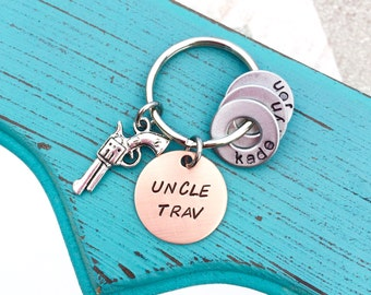 Hand Stamped Uncle Keychain WITH CHARM - Uncle - Number 1 Uncle - Uncle Gift - Uncle Keychain - Guy Keychain - Guy gift - Thoughtful Gift