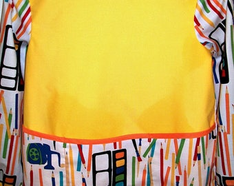 Child's Long Sleeve Art Smock - Size Medium - Ready to Ship - Art Supplies - Pencils - Paint
