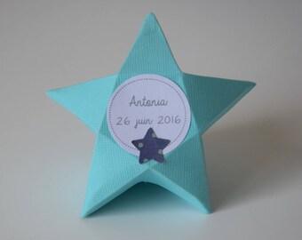 Boite à dragées étoile bleu turquoise - baptême, communion, babyshower