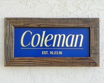 Custom Family Name Sign. Custom Signs. Reclaimed Wood Frame. Established Family Name Sign. Rustic Signs. Personalized Wedding Gift. 20x10