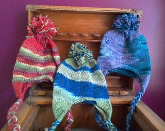 Multi Color Earflap Hat - handknit kids winter hat hand knit kid's trapper