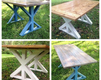 Custom Built X Leg Farm Table, Plank Top Farm Table, Farm House Kitchen Table, Dining Table, 5,6,7,8 Foot Rustic Table, Custom Finished