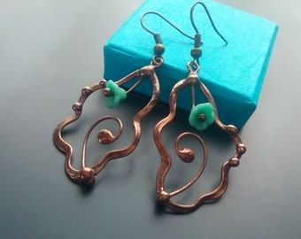 Wire jewelry, stained glass, statement jewelry, gift for women, turquoise blue, artistic jewelry, unusual earrings