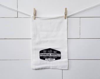 farmers market flour sack towel. Farmhouse towel. Tea towel. Kitchen towel. Farmhouse kitchen. Black and white. Kitchen decor.