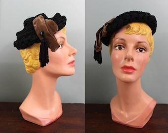 Milgrim tam hat | vintage 1950s beret hat | 50s black corde hat
