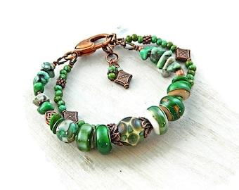 Grün-Handwerker-Lampwork Armband / Boho Perlen Armband / rustikale Böhmische Glas Perlen Armband / Zigeuner Schmuck / BohoChic / Cowgirl Armband