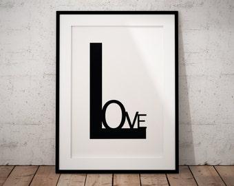 Typography art print, Love art print, Love wall art, Love poster, Typography minimalist, Typography poster, Love print, Love printable,