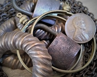 Rustic Destash Lot Vintage 3+ Feet Fancy Chain 2 Tiny No Key Padlocks 3 Large O Rings 2 38mm Screw Top Coin Holders 1 Old Copper Penny OOAK4