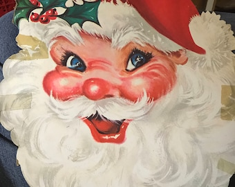 Vntg Xmas Santa Claus Face Die-cut Cardboard Decoration CARRINGTON