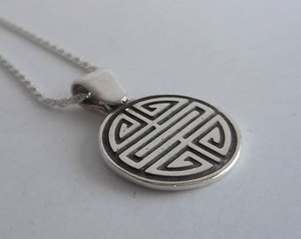 Small Sterling Silver Shou Pendant Chinese Longevity Symbol Necklace Made in Montana Fine Jewelry Gift for Men Women Gender Neutral