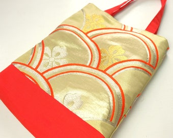 Golden Seigaiha Tote Bag Japanese Silk Book Bag
