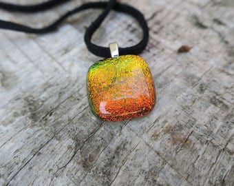 Orange/ Yellow dichroic glass necklace