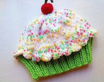 Cupcake Hat with Cherry on Top Lime Green Cake Marshmallow Cream Frosting with Sprinkles hand knit newborn 3 6 9 12 child toddler teen adult