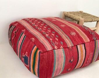 Beautiful Vintage Moroccan Kilim Pouf floor cushion